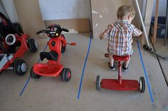 """What a fun idea to make """"parking spaces"""" for your kids outside toys (helps them to put things back in an appropriate space). can also be used for the older kids too with their bikes and skateboards etc Little Man, Little People, Little Ones, Activities For Kids, Crafts For Kids, Workshop, Outdoor Fun, Outdoor Toys, Organizer"""