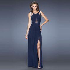 Back Cross Scoop Sleeveless Split Floor-length Solid Club Dress