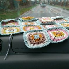 Hooking in the car on the way back from the farm!  #crochet #crochetaddict #crochetersofinstagram #stylecraftyarn #stylecraftspecialdk #harmonyblanket #attic24 #grannysquares #grannyblanket #crochetonthemove #carcrochet #happy #colour #color #yarnporn #colourinspiration. by the_loopy_home