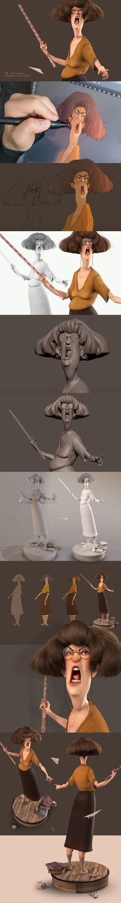 Back to school - 3D Character design on Behance (it's uncanny, that lady looks a lot like my old art teacher)