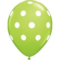 Lime and White Polka Dot Latex Balloons