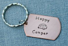 Happy Camper Hand Stamped Copper Dog Tag by 3LittlePixiesShoppe, $17.00