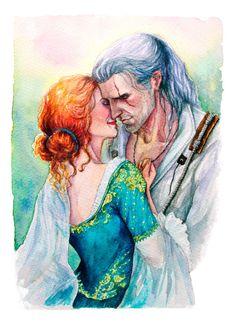 Geralt and Triss от ThistleArtsStudio на Etsy #witcher #geraltofrivia #trissmerigold #triss #couple #love #romanticcouple #coupleinlove #fantasy #illustration #watercolor #watercolorillustration #art #fanart #summer #artprint #print #gift #romance #redhair #fox #wolf #thewitcher3