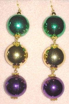 Big Ball Mardi Gras Earrings