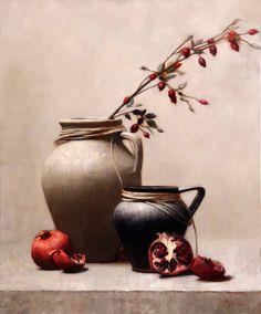 "Rose Hips II Artist:    Jura Bedic Medium:    oil on canvas Size:    19½"" x 23½"""
