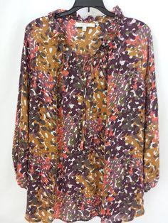 Blouse Size 16 100% Silk Long Sleeve Sejour - Nordstrom  Purple Pink Brown #Sejour #Blouse #Casual