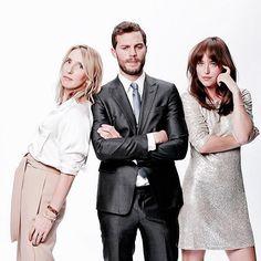 Jamie Dornan, Dakota Johnson, and Sam Taylor Johnson - Fifty Shades of Grey Promo