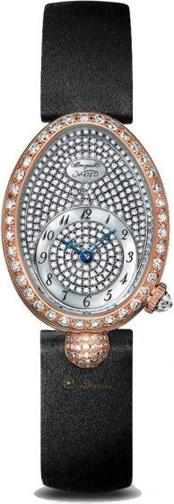 Breguet Reine de Naples 8928BR/8D/844/DD0DReine de Naples wristwatch in 18-carat white gold. Bezel, dial flange and lug set with 139 diamonds totaling approx. 1.32 cts. Self-winding movement. Balance spring in silicon. White natural mother-of-pearl dial. Off-centred chapter ring with Roman numerals. Sapphire case back. Water-resistant to 3 bar ( 30 m ). Dimensions : 33 x 24.95 mm. Also in yellow gold and rose gold. Available with satin bracelet.