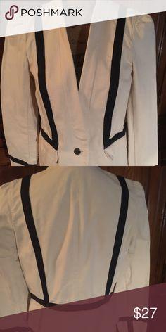 Loft Blazer Cream and navy Loft blazer size 10. EUC LOFT Jackets & Coats Blazers