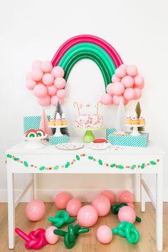 Christmas Colored Rainbow Balloon Dessert Table