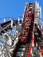 Cyclone Roller coaster. Wooden roller coasters are definitely not a smooth ride, whatsoever