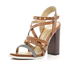Brown multi strap chunky heel sandals - heels - shoes / boots - women