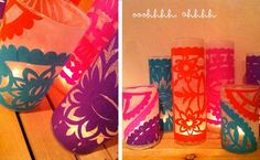 For center pieces  D.I.Y. Papel Picado Luminarias for Cinco de Mayo or your Southwest/Mexican inspired wedding and parties! #newmexicoweddingmagazine #CincodeMayo