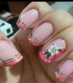 Flor Glitter Nails, Gel Nails, Toe Designs, Manicure Y Pedicure, Nail Art Galleries, Pretty Nails, Make Up, Lily, Hair Styles