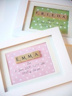 Baby diy name fun 60 ideas Scrabble Art, Scrabble Letters, Scrabble Coasters, Scrabble Kunst, Scrabble Tile Crafts, Baby Crafts, Diy And Crafts, Craft Gifts, Craft Ideas