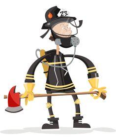 Highlights children illustration fireman