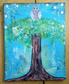 Original Whimsical Mixed Media Owl Tree Stars by naomisnotions