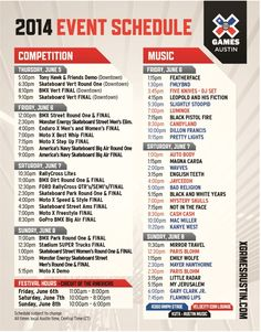 The X Games Austin 2014 Schedule & Festival Map - 365 Things to Do in Austin, TX Austin Events, Austin Tx, Austin Music, Stuff To Do, Things To Do, Music Competition, Schedule Cards, Lake Travis, X Games