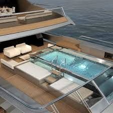 Steel mega-yacht / with swimming pool - - Cantieri Navali San Lorenzo Cool Swimming Pools, Best Swimming, Cool Pools, Yacht Interior, Blue Tiles, Super Yachts, Motor Yacht, Luxury Yachts, Looks Cool
