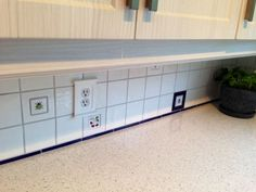 A customer used Antigua Critters, Cookie Molds and blue liners to create a truly custom backsplash. All tile by World Mosaic Tile (BC)! Blue Liner, Tile Installation, Hand Painted Ceramics, Kitchen Backsplash, Mosaic Tiles, Tile Floor, Vancouver, Storage, Outdoor Decor