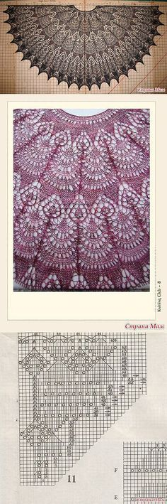 Crochet Patterns Lace On-line Shali 'Freya': The diary of the group 'ZAO Shalu … Lace Knitting Patterns, Shawl Patterns, Knitting Charts, Lace Patterns, Knitting Stitches, Hand Knitting, Stitch Patterns, Finger Knitting, Knitted Shawls