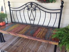 Image result for upcycled bed slats Refurbished Furniture, Repurposed Furniture, Pallet Furniture, Furniture Projects, Furniture Makeover, Painted Furniture, Handmade Furniture, Painted Wood, Furniture Stores