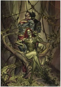 """fyeahpoisonivy: """" [Image: A drawing of DC comics characters Poison Ivy, Batman, and Superman. Poison Ivy is sitting on a tree truck that has split into two large branches to make it look like a. Poison Ivy Batman, Poison Ivy Comic, Dc Poison Ivy, Poison Ivy Dc Comics, Comic Book Characters, Comic Character, Comic Books Art, Comic Art, Batman Beyond"""