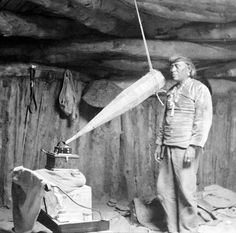 Native American having his voice recorded. Original caption reads 'Miguelito, a Navajo from the Southwest, making a voice recording', February 19, 1914.
