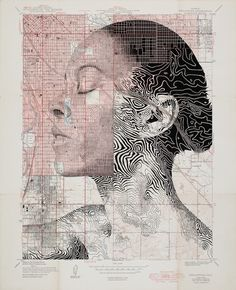 Aged of 26 years old, artist Ed Fairburn continues to exploit maps to put his portraits illustrations. This artist has an imaginative ability to make visual… Ed Fairburn, Art And Illustration, Portrait Illustration, Portraits Illustrés, L'art Du Portrait, Studios D'art, Art Carte, Map Painting, Ap Studio Art