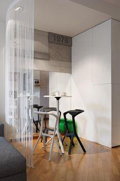 MIURA stools and table, design Konstantin Grcic, at Appt.V., Belgrade Interior Decoration and Design: Irena Kilibarda Dsignedby  http://www.plank.it/product/miura-stool/  http://www.plank.it/product/miura-table/