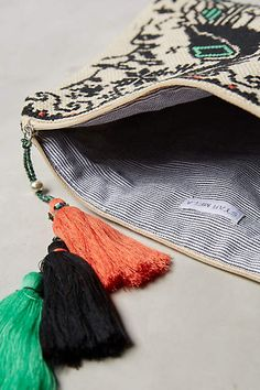 Embroidered Peacocks Pouch - anthropologie.com #anthroregistry