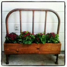 made out of an old bed headboard.have this headboard waiting for right project - found it I believe.planter made out of an old bed headboard.have this headboard waiting for right project - found it I believe.