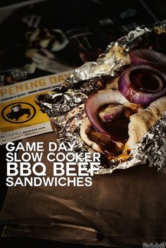 Game Day Slow Cooker BBQ Beef Sandwiches