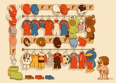 El armario de Mario, quien no conoce a este personaje. Me encantan todos los trajes, sobre todo la rana, el mapache, el martillero y la bota gigante. :D
