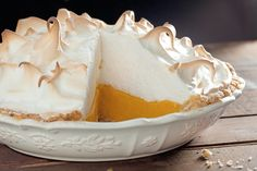 An apricot meringue pie recipe that riffs on lemon meringue pie, with a tangy apricot filling, an almond crust, and a fluffy toasted-meringue topping.