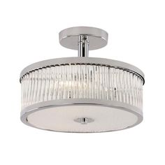 Bring home a touch of modern charm with this Cambridge 1 light semi flush mount. Finished in polished chrome, an adorning frosted shade and an incandescent, candelabra base bulb, this fixture is not only a pleasant aesthetic, but a utilitarian success.