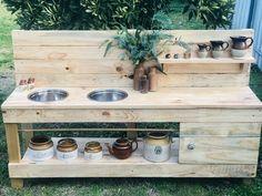Twin Dimity Mud Kitchen – Little Hipster Kitchens - Modern Design Diy Mud Kitchen, Mud Kitchen For Kids, Summer Kitchen, Home Decor Kitchen, Backyard Playground, Backyard For Kids, Hipster Kitchen, Playhouse Outdoor, Outdoor Play