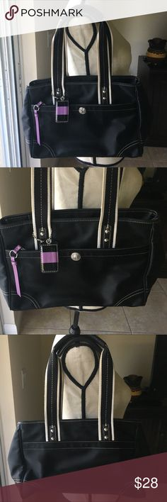 Authentic Coach bag Authentic Coach bag, 8.5' x 13', zip closure. Outside of bag is in excellent condition, has exterior pocket that runs along front of bag. Inside of bag has lipstick stains and pen stains and is dirty, I am unsure if it can be cleaned. Offers are welcome. Buy 2 or more items in closet and save 10% Coach Bags Shoulder Bags