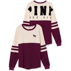 Victoria's Secret Varsity Crew ($50) ❤ liked on Polyvore featuring tops, sweaters, victoria's secret, pink, pink top, oversized tops, crew top, purple top and graphic tops