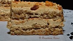 prajitura cu nuca si ness, prajitura cu nuca si bezea, prajitura cu blat de bezea si ness Cookie Desserts, Dory, Vanilla Cake, Banana Bread, Biscuits, Caramel, Sweet Tooth, Deserts, Veggies