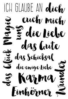 "Klartext-Stempelset ""Ich glaube an"" von www.danipeuss.de #danipeuss #klartextstempel"