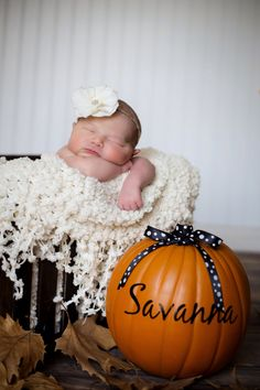 Pumpkins work for an October or November baby. Carina Dunmore Photography Fresno, CA