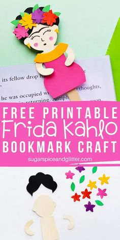 Frida Kahlo is the perfect female artist to study - whether learning about self-portraits or Mexican art. This easy Frida Kahlo inspired craft for kids makes a great bookmark or popsicle stick puppet Paper Crafts For Kids, Projects For Kids, Craft Projects, Arts And Crafts, Craft Ideas, Mayan Symbols, Viking Symbols, Egyptian Symbols, Viking Runes