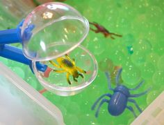 Our fun sensory Creepy Crawler Bug Discovery Box will introduce kids to a magical world of insects, sparkling gems and pebbles, and translucent green water beads.