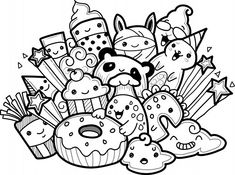 Cute Monsters Collection In Doodle Style Cute Doodles Drawings, Cute Doodle Art, Doodle Art Designs, Funny Doodles, Doodle Art Drawing, Cool Doodles, Kawaii Doodles, Cool Art Drawings, Kawaii Drawings