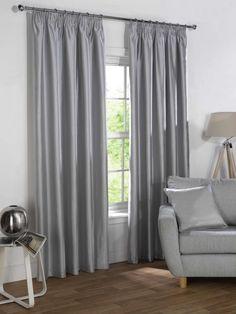 Sophia Ready Made Faux Silk Blackout Curtains - Silver