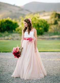 crop top and pink wedding skirt / http://greenweddingshoes.com/our-favorite-wedding-dresses-of-2014/