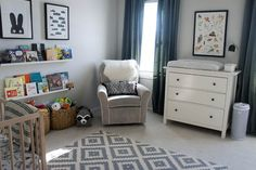 Charlie's Black and White Woodland Nursery - The Humble Nest Cozy baby boy nursery, with rocker and changing table/ dresser.