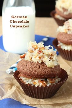 German Chocolate Cupcakes - Chocolate cake is topped with a layer of sweet coconut and pecan frosting!
