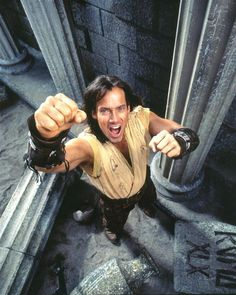 KEVIN SORBO HERCULES BEEFCAKE photo with stone pillars